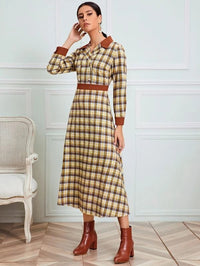 Women Plaid Lapel Neck Double Breasted Dress