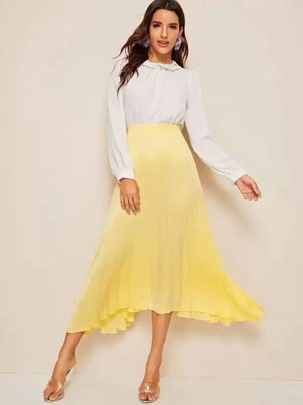 Women Pleated Asymmetrical Hem Skirt