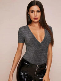 Women Plunge Neck Glitter Top