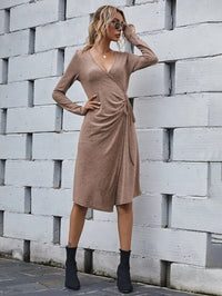 Women Plunging Neck Tie Side Wrap Dress