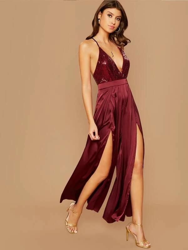 Women Plunging Crisscross Backless Sequin Bodice Split Thigh Satin Jumpsuit