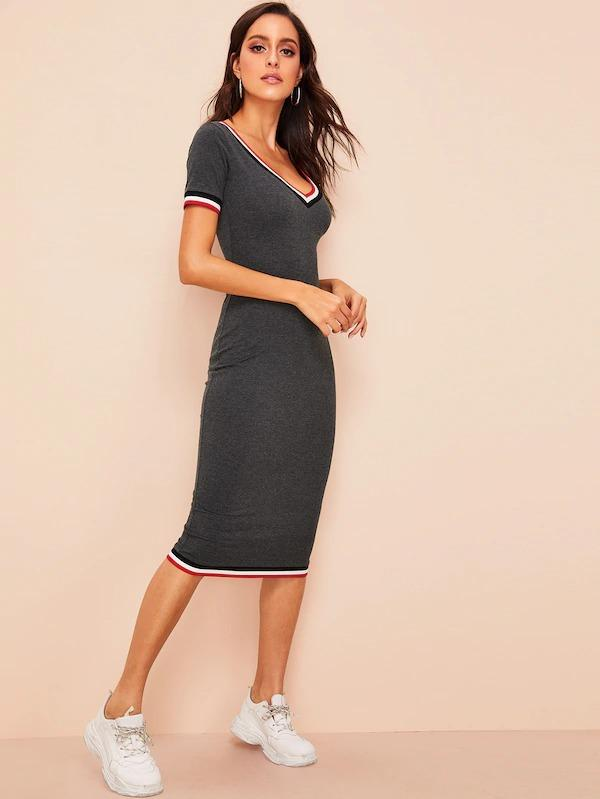 Women Plunging Neck Contrast Striped Bodycon Dress