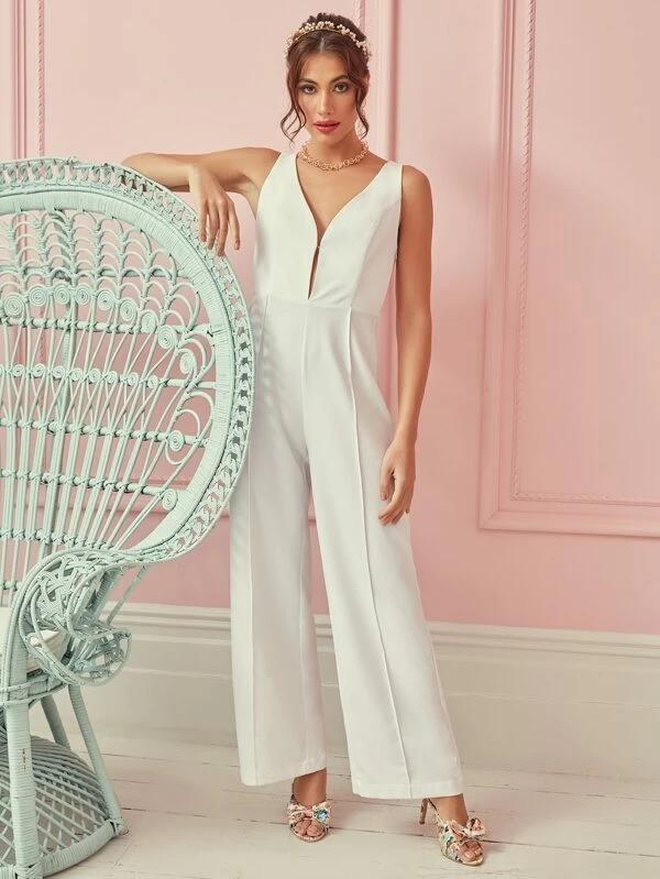 Women Plunging Neck Embroidery Mesh Sheer Back Seam Front Palazzo Jumpsuit