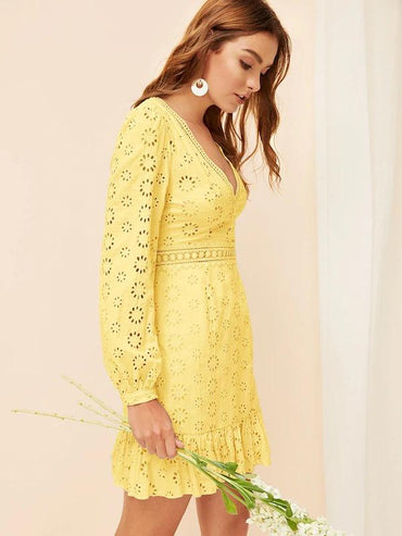Women Plunging Neck Lantern Sleeve Eyelet Embroidery Dress