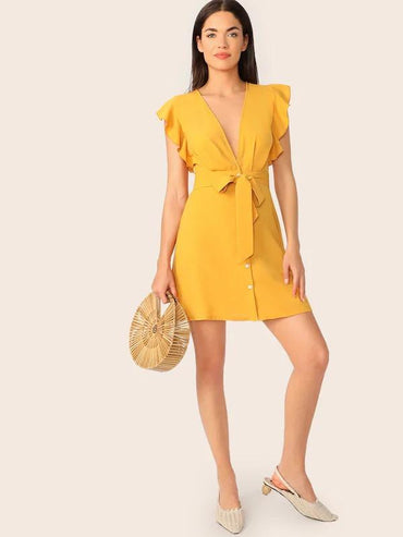 Women Plunging Neck Ruffle Armhole Belted Shirt Dress