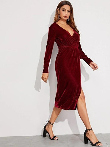 Women Plunging Neck Wrap Velvet Blouson Dress