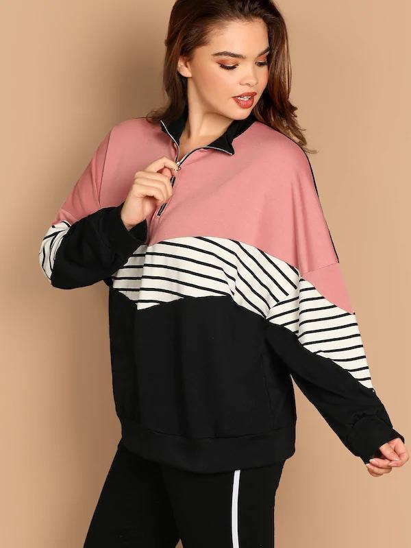 Women Plus Batwing Sleeve Cut-And-Sew Sweatshirt