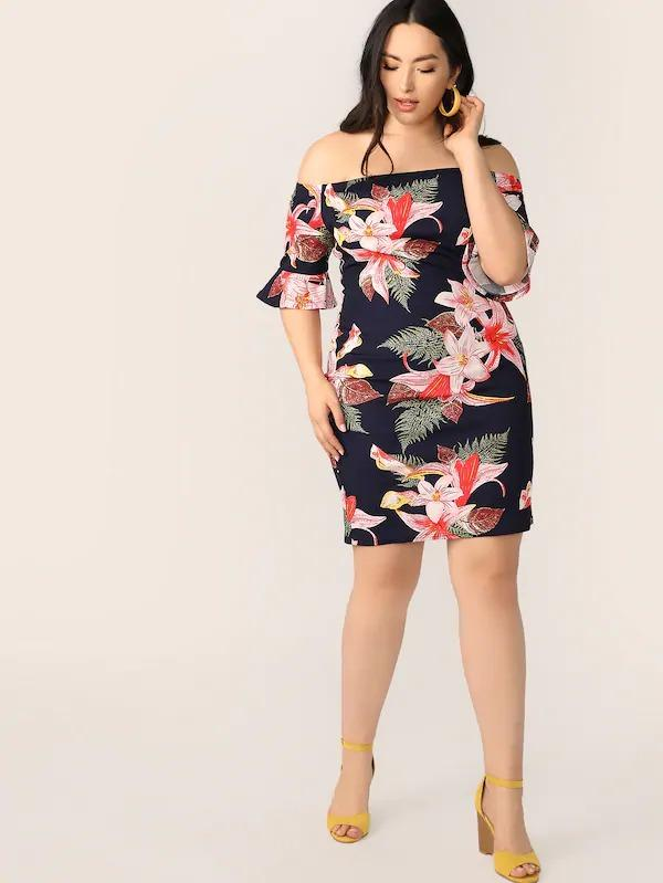 Women Plus Bell Sleeve Floral Print Bardot Dress
