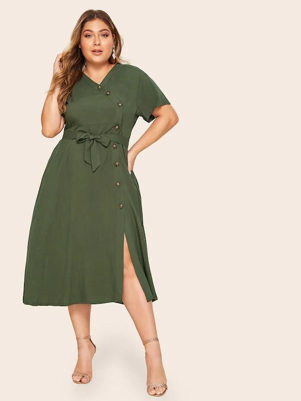 Women Plus Button Front Belted Dress