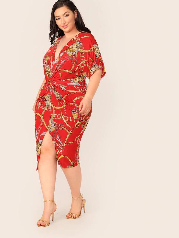 Women Plus Chain Print Twist Front Dress