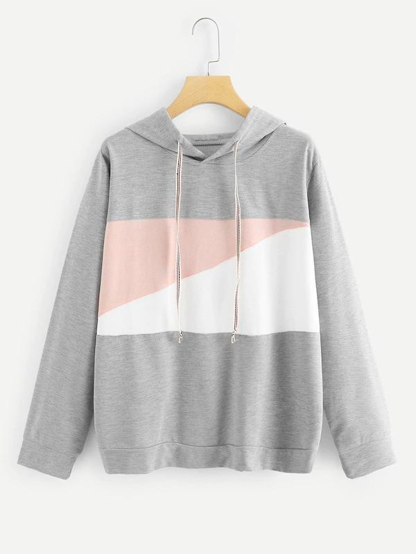 Women Plus Color Block Drawstring Hoodie