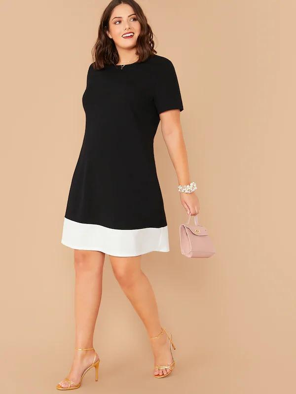Women Plus Contrast Hem Flowy Dress
