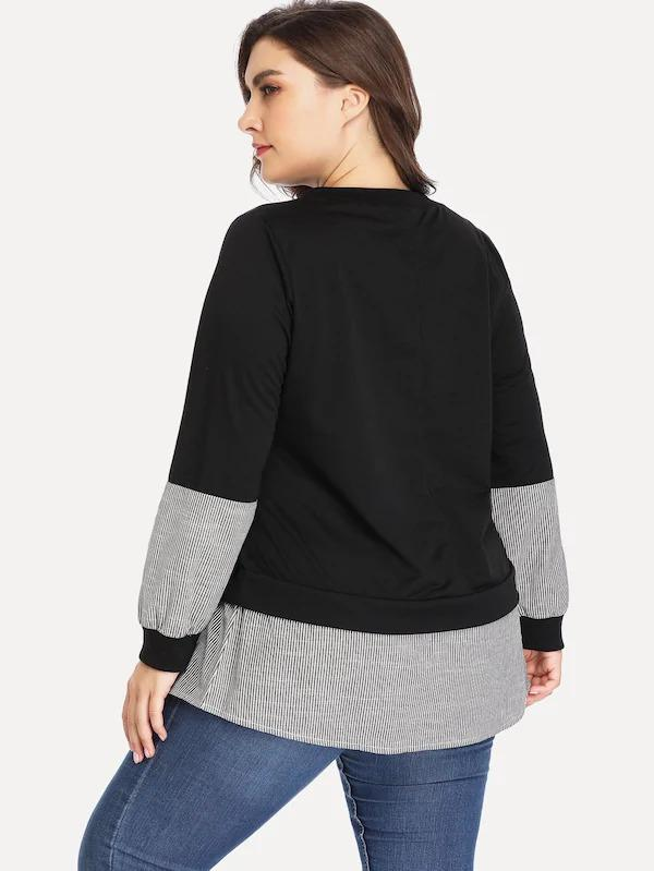 Women Plus Contrast Panel Sweatshirt