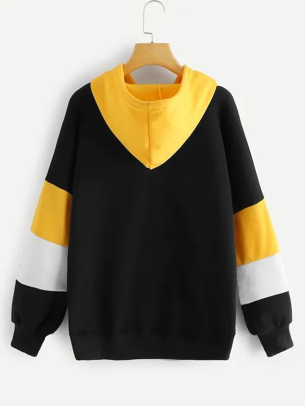 Women Plus Cut And Sew Panel Hoodie