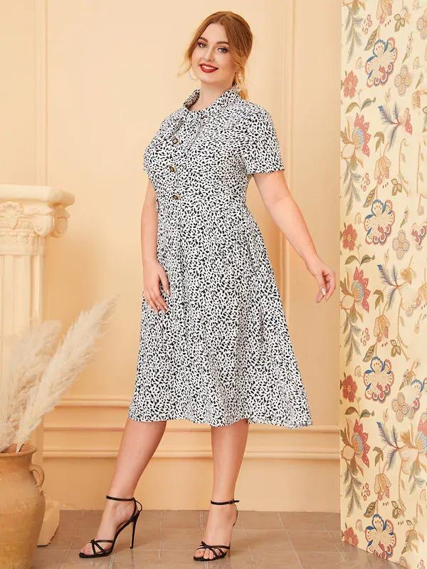 Women Plus Dalmatian Print Tie Neck Shirt Dress