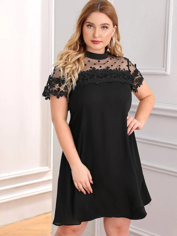 Women Plus Dot Mesh Yoke Guipure Lace Applique Dress