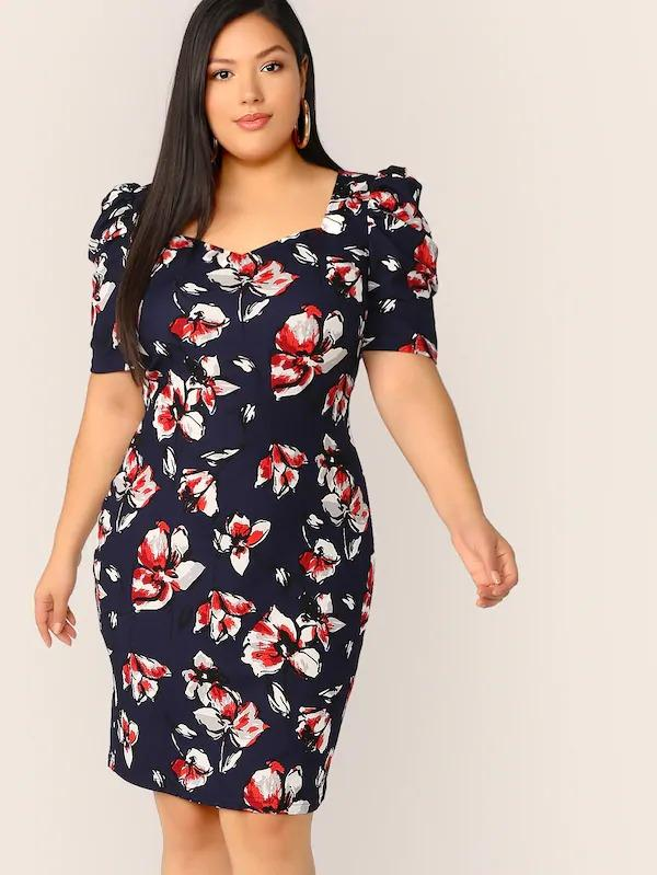Women Plus Floral Print Puff Sleeve Sweetheart Dress