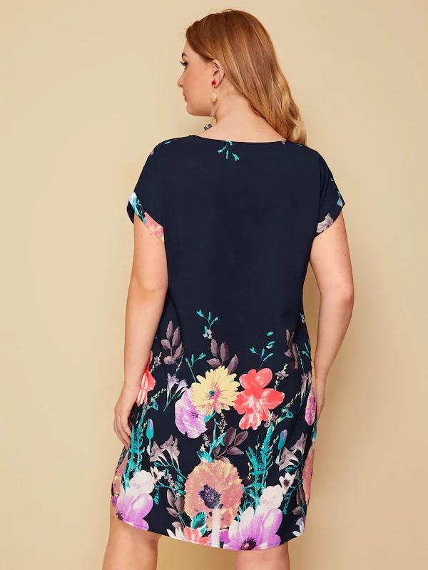 Women Plus Floral Print Trapeze Dress
