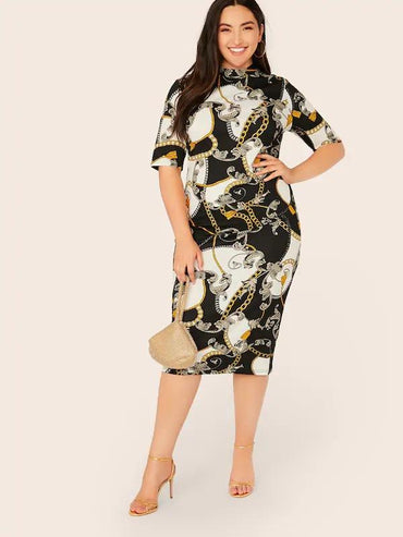 Women Plus Mock Neck Scarf Print Pencil Dress