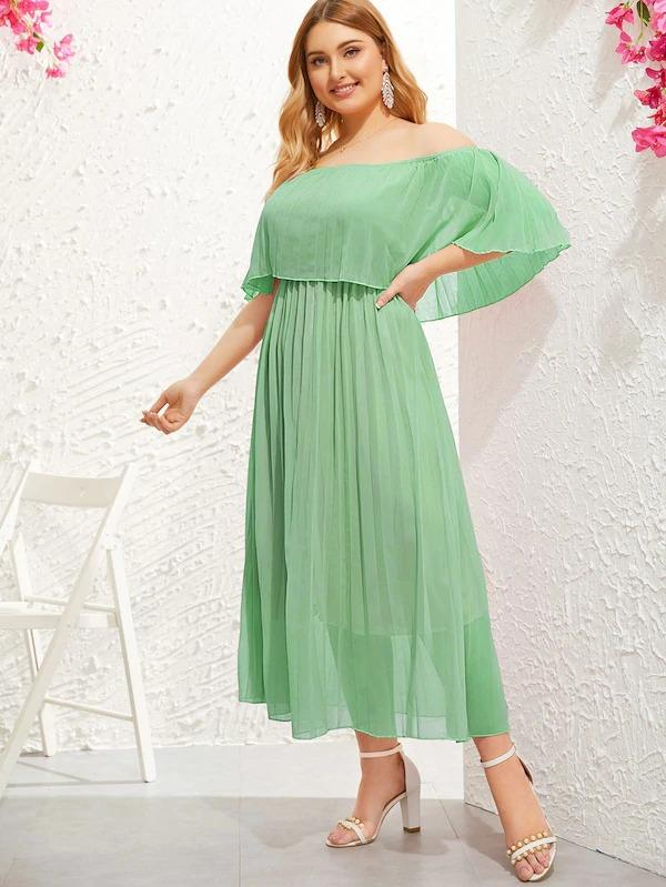 Women Plus Off Shoulder Pleated Dress