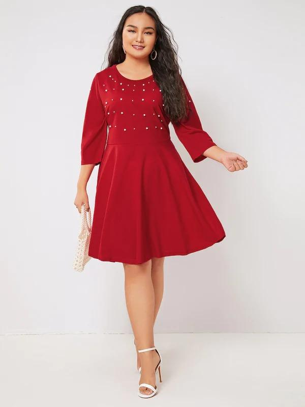 Women Plus Pearl Beading Fit & Flare Dress
