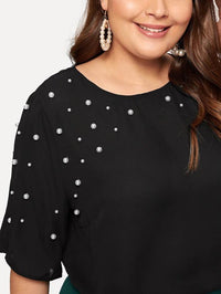Women Plus Pearl Embellished Solid Top