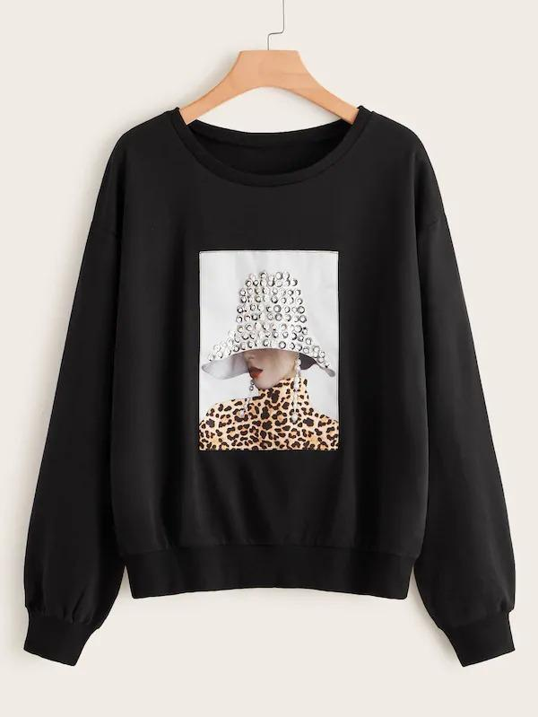 Women Plus Rhinestone Detail Figure Patched Sweatshirt