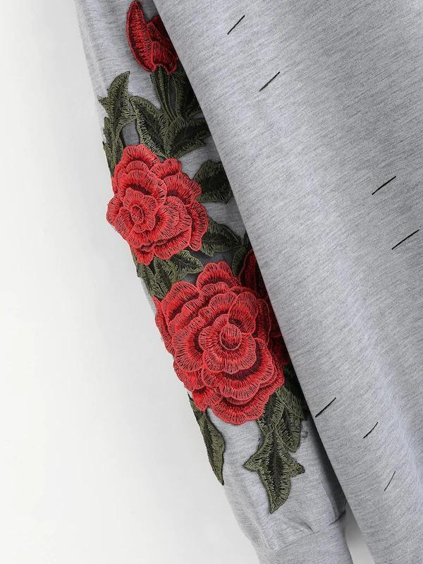 Women Plus Rose Patched Ripped Sweatshirt