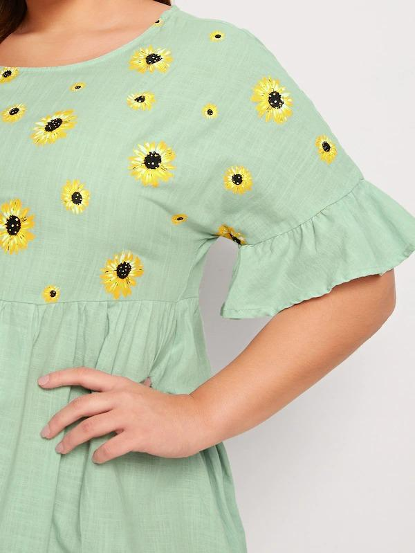 Women Plus Ruffle Cuff Sunflower Print Smock Dress