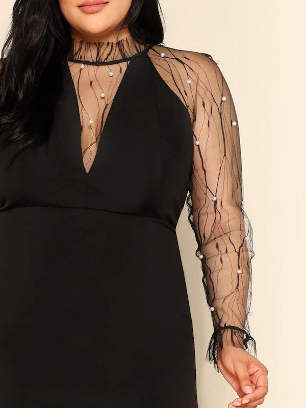 Women Plus Sheer Mesh Insert Pearl Beaded Pencil Dress