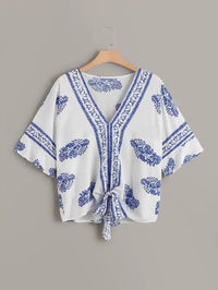 Women Plus Tribal Print Knot Hem Blouse