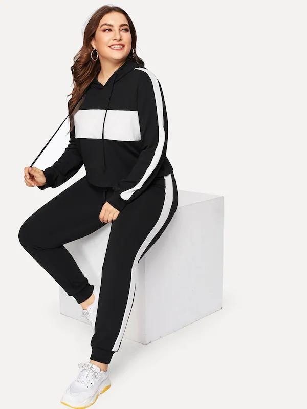 Women Plus Two Tone Drawstring Hoodie With Pants