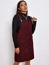 Women Pocket Patched Cord Overall Dress