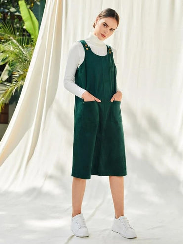 Women Pocket Patched Cord Pinafore Dress Without Tee