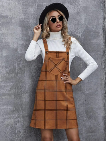 Women Pocket Patched Plaid Overall Dress