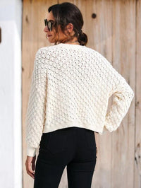 Women Pointelle & Rib Knit Drop Shoulder Sweater