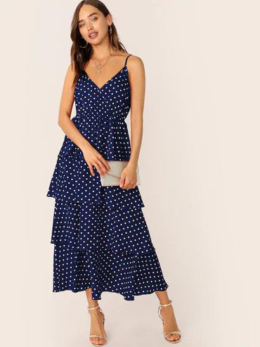 Women Polka-Dot Print Layered Ruffle Hem Slip Dress