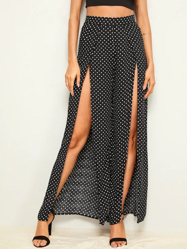 Women Polka-Dot Print Split Thigh Wide Leg Pants