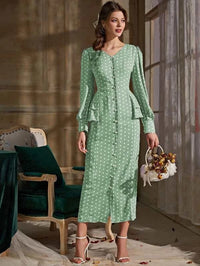 Women Polka Dot Tiered Layer Pearls Button Fitted Dress
