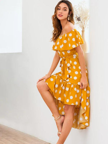 Women Polka Dot Print Ruffle Trim Belted Dress