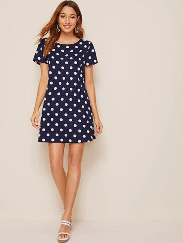 Women Polka Dot Tunic Dress