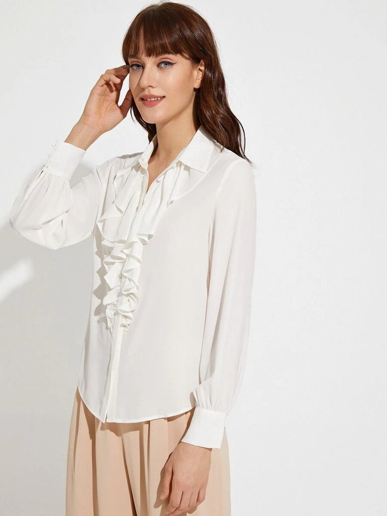Women Premium Button Front Jabot Collar Solid Blouse