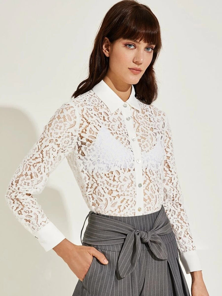 Women Premium Button Front Sheer Lace Blouse Without Bra