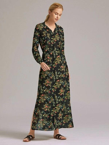 Women Premium Button Front Ditsy Floral Print Slit Hem Belted Dress