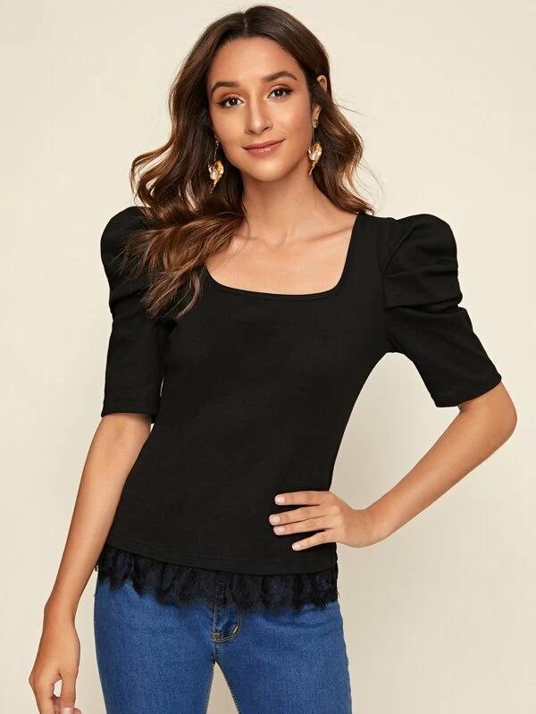 Women Puff Sleeve Lace Hem Form Fitted Tee
