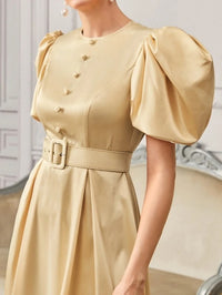 Women Puff Sleeve Self Belted Satin Dress