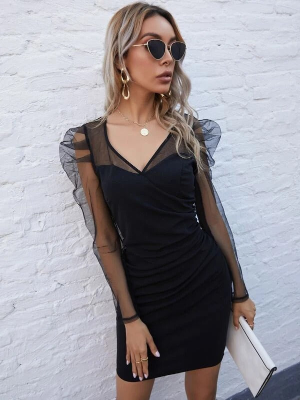 Women Puff Sleeve Sheer Mesh Yoke Zip Back Dress