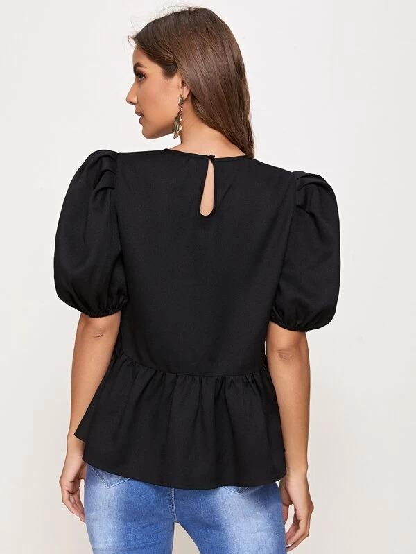 Women Puff Sleeve Solid Peplum Top
