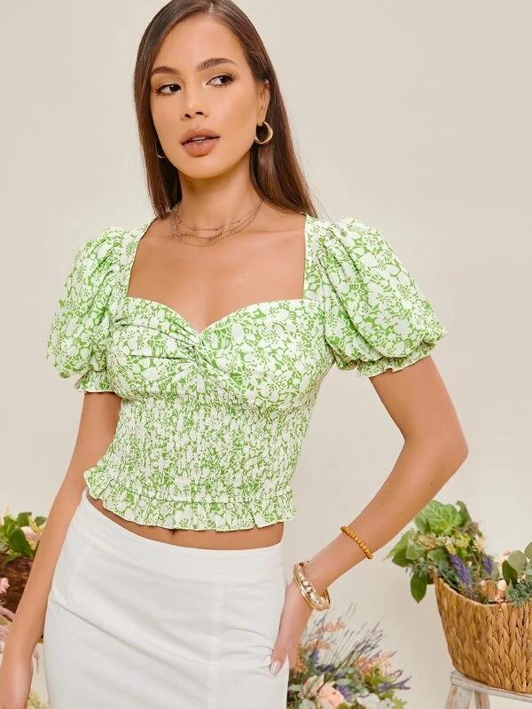 Women Puff Sleeve Twist Front Shirred Floral Top