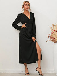 Women Puff Sleeve V-neck Split Thigh A-line Dress